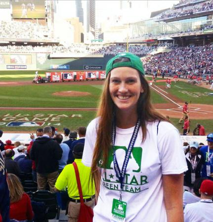 RST woman standing in the stands of the Major League all Star game