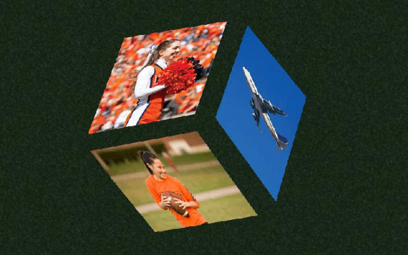 3 images of a touch football game, a cheerleader, and an airplane